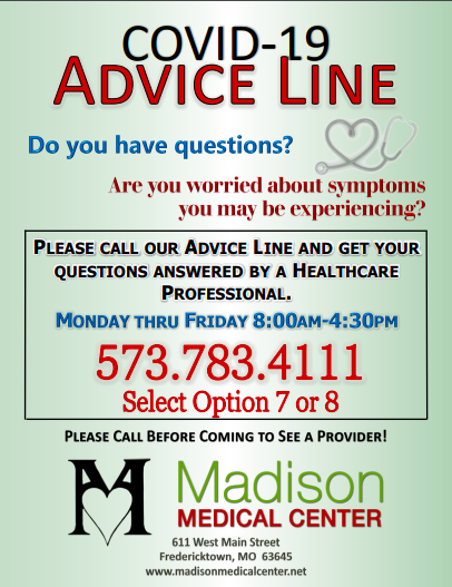 Madison Medical Center-Covid-19 Advice Line